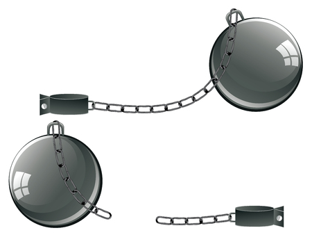 Gray metal chains with ball and shackles on white background. Illustration