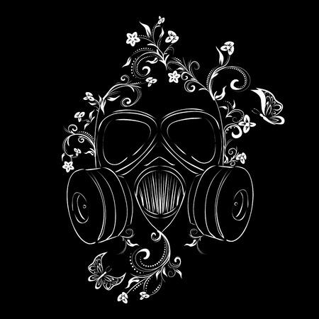 Cartoon grunge gas mask with floral ornament design illustration.