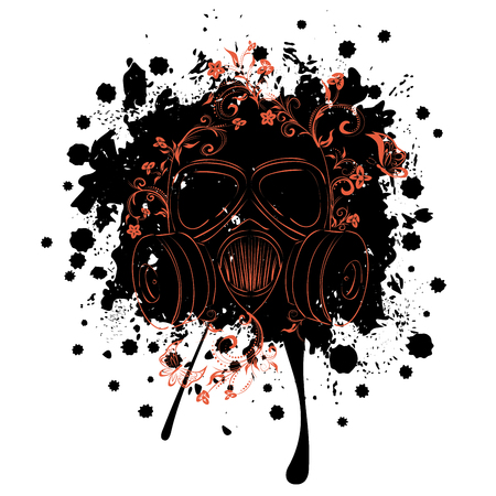 Cartoon grunge gas mask with floral ornament design illustration.