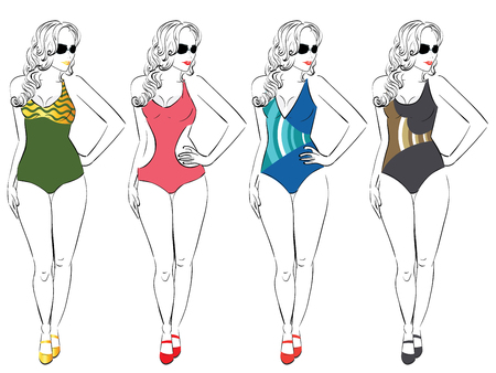 Illustration of a pear body type woman in different swimsuits, line art style .