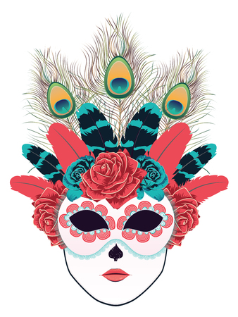 stage costume: Carnival face mask decorated with roses and feathers.