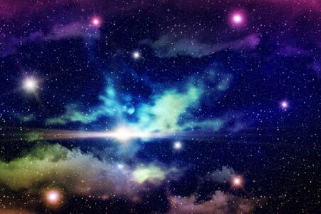 Colorful starry outer space background, star field illustration. Stock Photo