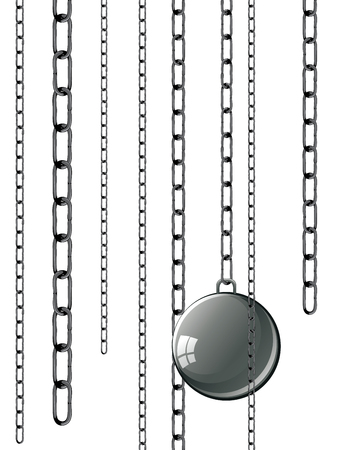 enslave: Gray metal chains with ball and shackles on white background. Illustration