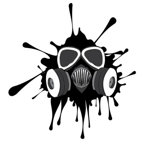 Cartoon grunge gas mask with splatters design illustration. Illustration