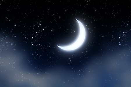 starry night: Fantasy crescent moon on blue starry sky with clouds background. Stock Photo