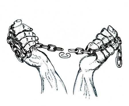 prison break: Black and white grunge sketch of human hands with chains. Stock Photo