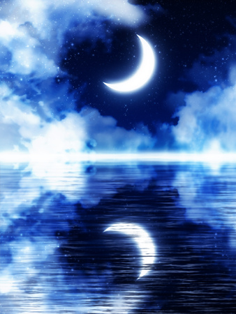 Fantasy crescent moon on blue starry sky with clouds background. Stock Photo