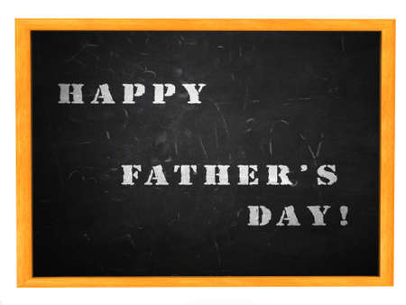 Illustration of Happy Fathers day written on blackboard background.