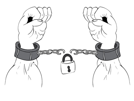 Gray metal chains with shackles on hands silhouette on white background. Illustration