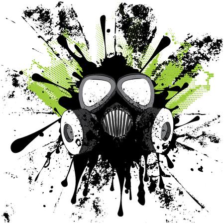 Caricatura grunge máscara de gas con splatters ilustración de diseño. Foto de archivo - 77176635