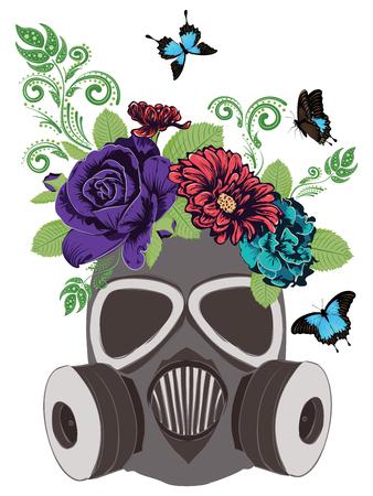 Cartoon grunge gas mask with roses, flower ornament design illustration. Illustration