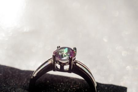 topaz: Fashion ring with mystic topaz, rainbow topaz, modern jewelry.