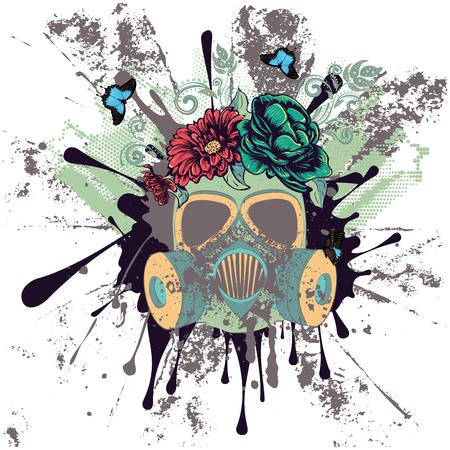 Máscara de gas del grunge de la historieta con las rosas, ilustración del diseño del ornamento de la flor. Ilustración de vector