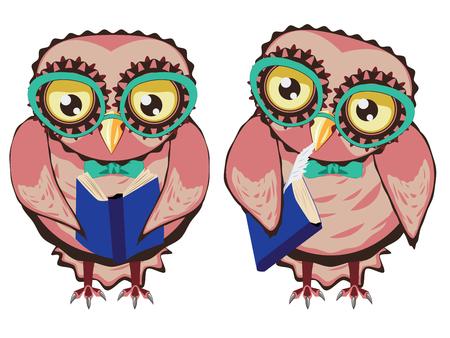 Cute cartoon stylized owl with yellow eyes wears big teal eyeglasses.