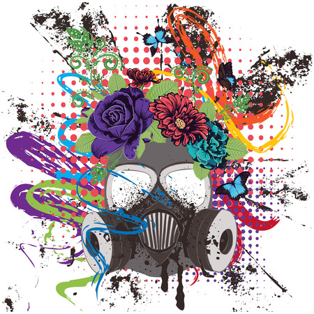 Máscara de gas del grunge de la historieta con las rosas, ejemplo del diseño del ornamento de la flor.