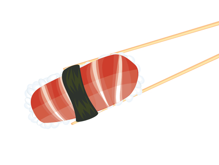 nori: Japanese cousin, tasty sushi between wooden chopsticks. Illustration