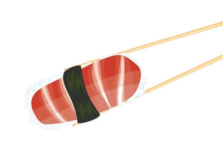 cousin: Japanese cousin, tasty sushi between wooden chopsticks. Illustration