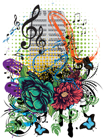 Retro style metal microphone colorful grunge illustration, music background. Illustration