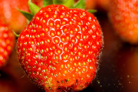 Juicy fresh red strawberry close up background. Stock Photo