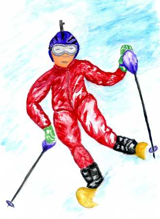 Watercolor winter sport sketch, downhill skier, hand painted illustration.