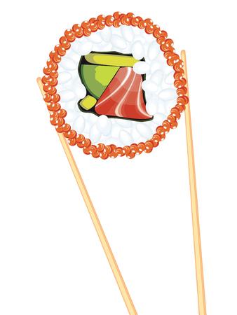 Japanese cousin, tasty sushi between wooden chopsticks. Illustration