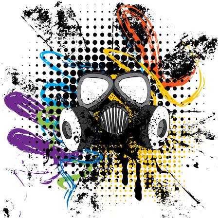 Caricatura grunge máscara de gas con splatters ilustración de diseño. Foto de archivo - 79832946
