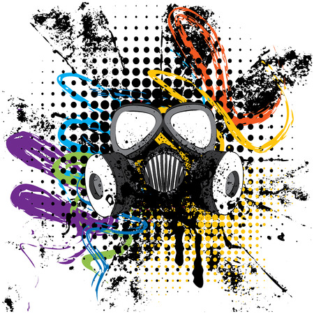 Cartoon grunge gas mask with splatters design illustration. Illustration