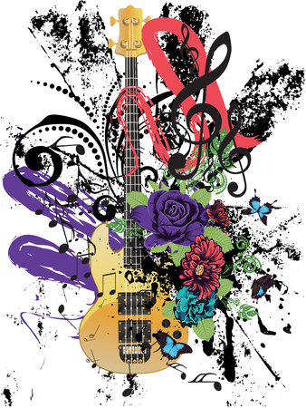 Retro style modern guitar colorful grunge illustration, music background.