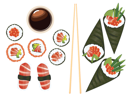 nori: Delicious Japanese sea food, sushi set on white background.