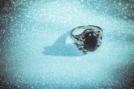 yogini: Fashion silver ring with blue sandstone, aventurine. Stock Photo