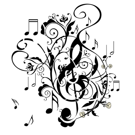 Abstract musical background with music notes and floral. Ilustracja