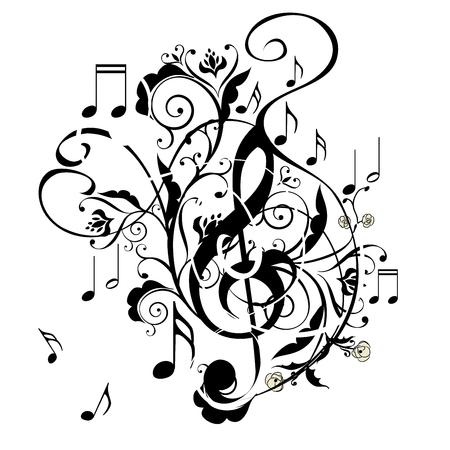 Abstracte muzikale achtergrond met muziek notities en bloemen. Stock Illustratie