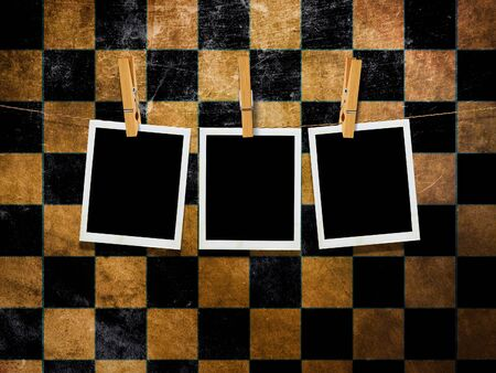 photo album: Illustration of vintage photo cards over grunge checkered background.