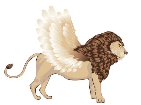 Fantastic animal lion with bird wings, chimera illustration.