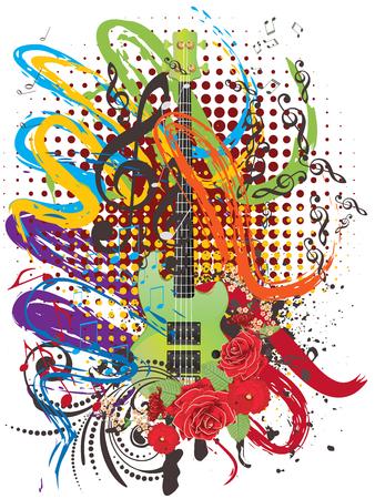 Retro style modern guitar colorful grunge illustration, music background.