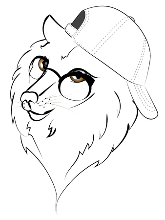 Cute cartoon wolf in a baseball cap illustration on white background.