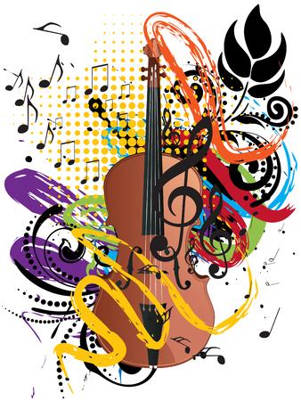 Retro style brown violin colorful grunge illustration, music background. Illustration