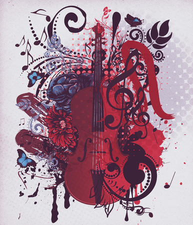 chiave di violino: Illustration of abstract grunge retro musical violin background.