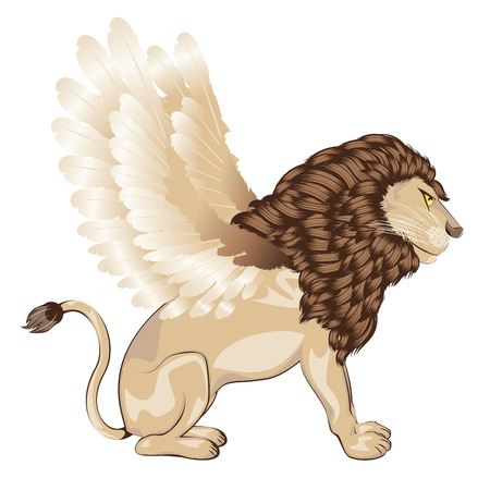 winged lion: Fantastic animal lion with bird wings, chimera illustration.