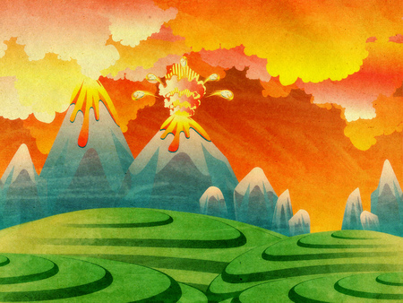Illustration of cartoon volcano eruption with hot lava, grunge background.
