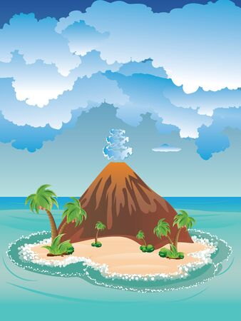 Illustration of cartoon volcano on a peaceful island.