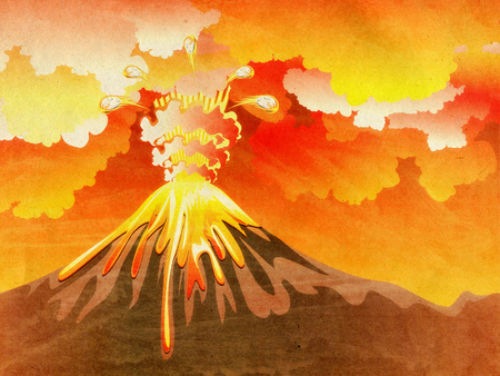 Illustration of cartoon volcano eruption with hot lava
