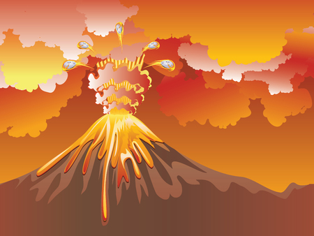 Illustration of cartoon volcano eruption with hot lava. Illustration