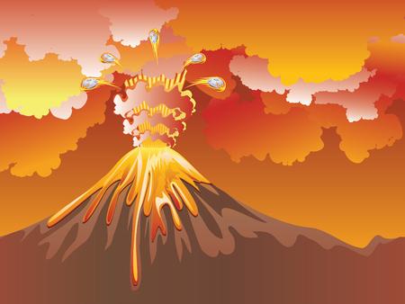 Ilustración de la erupción del volcán del dibujo animado con la lava caliente.
