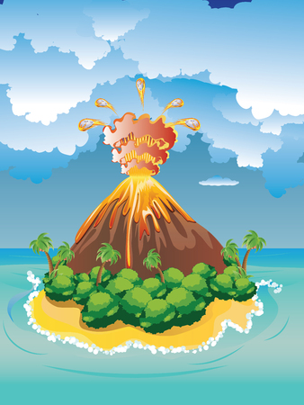 Illustration of cartoon volcano eruption with hot lava. Ilustração