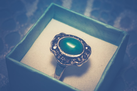 Vintage silver ring with green natural stone, nephrite. Reklamní fotografie