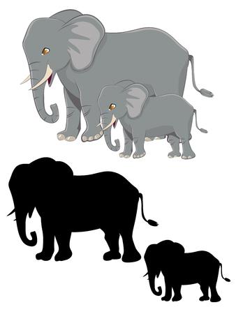 Big grey elephant, cute cartoon character design.