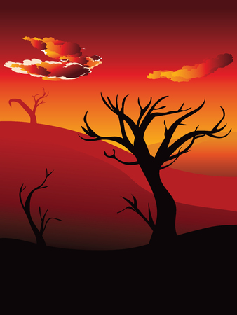 Colorful Sunset Scene African Landscape With Silhouette Of Trees Vector