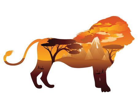 Colorful sunset scene, african landscape with silhouette of trees and lion. Illustration