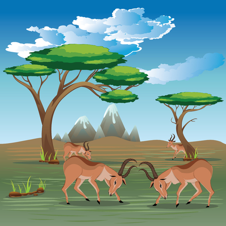 Cartoon sunny landscape with herd of antelopes. Stock Vector - 85252228